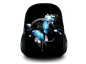"""13"""" 14"""" 15"""" Canvas Satchel Backpack Laptop College School Book Backpack Travel Bag Rucksack Shoulder Bag - Blue Butterfly SB-6797"""
