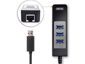 UNITEK USB 3.0 Bus-Powered 3-Port with RJ45 10/100/1000 Gigabit Ethernet Converter LAN Wired Network Adapter for Laptops,Ultrabooks ...