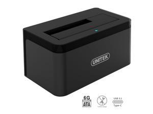 "UNITEK USB 3.1 Type C (USB-C) to SATA Gen 2 (10Gbps) Single Bay External Hard Drive Docking Station for 2.5""/3.5"" Inch SATA SSD HDD, Support UASP & 8TB, Includes USB-A cable for USB 3.0 & 2.0 Systems"