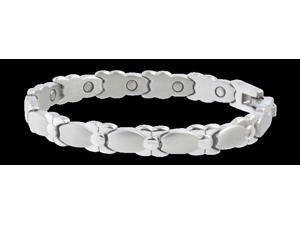 Sabona Jewelry Womens Bracelet Lady Silver Bows Magnetic L Silver 300