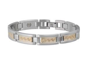 Sabona Jewelry Mens Bracelet Greek Key Duet Magnetic M Silver Gold 374