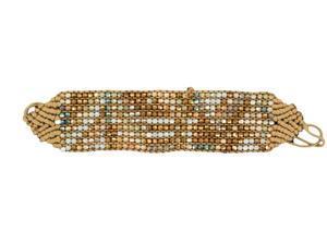 Blazin Roxx Jewelry Womens Wrap Woven Bead Bling Chevron Brown 30748