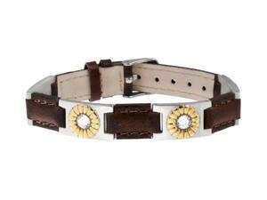 Sabona Jewelry Womens Bracelet Leather Duet Magnetic Silver Brown 260