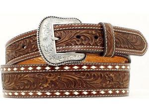 Nocona Western Belt Mens Leather Tooled Tapered 46 Mocha N2497802
