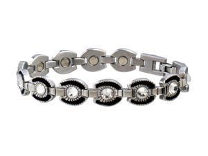 Sabona Jewelry Womens Bracelet Stainless Horseshoe L Silver Black 214
