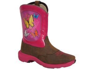 Durango Western Boot Girl Butterfly Lenticular 5.5 Infant Brown DWBT012