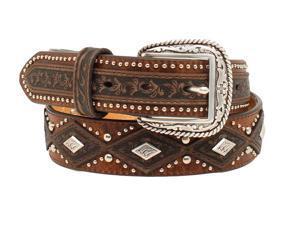 Ariat Western Belt Mens Diamond Concho Nailheads 36 Aged Bark A1020644