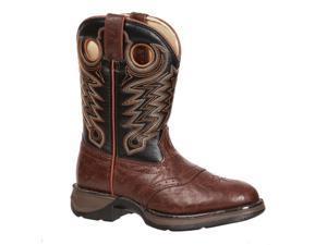 "Durango Western Boots Boys 8"" Saddle Welt 3.5 Child Chestnut BT300"