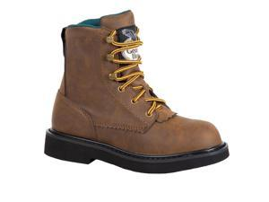 """Georgia Work Boots Boys 7"""" Lacer Manmade Upper 8.5 Infant Brown G097"""