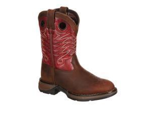 "Durango Western Boots Boys 8"" Raindrop Cowboy 3.5 Child Brown DWBT056"