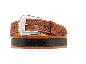 Nocona Western Belt Mens Gator Tooled Leather 34 Brown Black N2495267