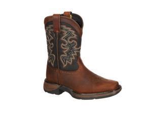 """Durango Western Boots Boys 8"""" Cowboy Heel Leather 4 Youth Tan DWBT050"""