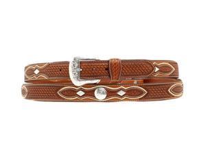 Nocona Western Belt Mens Tooled Diamond Conchos 34 Copper N2509248