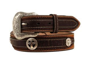 Nocona Western Belt Mens Distressed Concho 46 Medium Brown N2427444