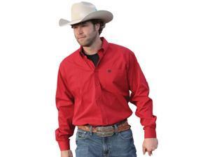 Cinch Western Shirt Mens L/S Pocket Logo Stripe 2XL Red MTW1104153