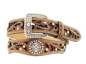 Ariat Western Belt Womens Scallop Cross Inlay Studs L Brown A1513002