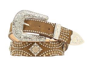 Nocona Western Belt Womens Leather Crystal Diamond L Coffee N3471044