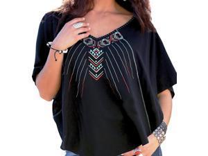 Cruel Girl Western Shirt Womens 3/4 Butterfly XS/S Black CTW9366001