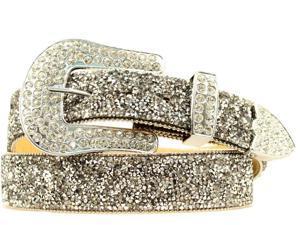 Ariat Western Belt Womens Clear Crystal Chips XL Black A1510801