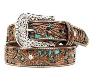 Ariat Western Belt Womens Rhinestones Turquoise Inlay L Brown A1513402