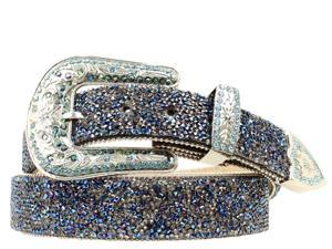 Ariat Western Belt Womens Blue Crystal Chips XL Black A1510827