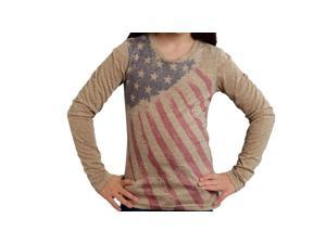 Roper Western Shirt Girls Stars Stripes L/S L Tan 03-009-0514-6026 TA