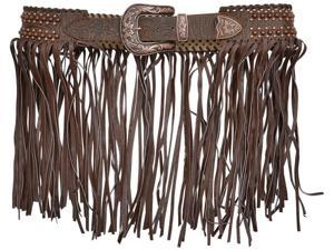 Angel Ranch Western Belt Womens Floral Fringe Lacing XL Brown A3428