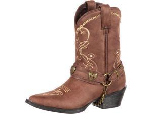 """Durango Western Boots Girls 8"""" Lil Heartfelt 9.5 Child Brown DBT0135"""