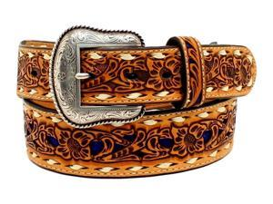Nocona Western Belt Mens Inlay Floral Lacing 44 Tan Blue N2498727
