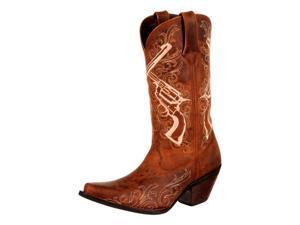 "Durango Western Boots Womens 12"" Crush Crossed Guns 11 M Brown DRD0099"
