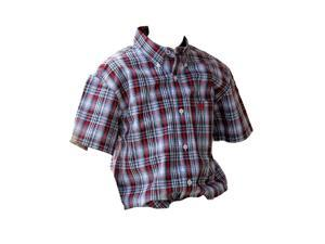 Cinch Western Shirt Boy Kid S/S Button Plaid XXL White Blue MTW7140014
