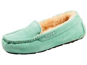 Old Friend Slippers Womens Sheepskin Bella Moccasin 6 Lime 441310