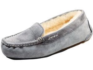Old Friend Slippers Womens Sheepskin Bella Moccasin 6 Grey 441310