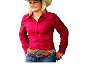 Cinch Western Shirt Womens Long Sleeve Stripe Pocket XL Red MSW9164019