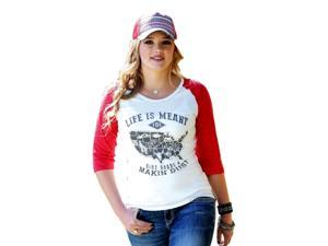 Cruel Girl Western Shirt Womens 3/4 Sleeves Raglan L White CTK9695016