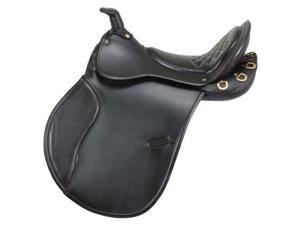 """EquiRoyal Saddle English Comfort Trail Horn Wide Padded 18"""" Black ES7430"""