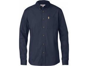 FjallRaven Outdoor Shirt Mens Ovik Solid Twill L S M Dark Navy F82447