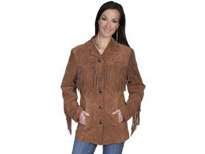Scully Western Jacket Womens Suede Fringe Button L Brown L74