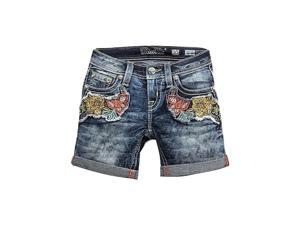 Miss Me Denim Shorts Girls Floral Fun Mid Short 10 Med Wash JK8621D2