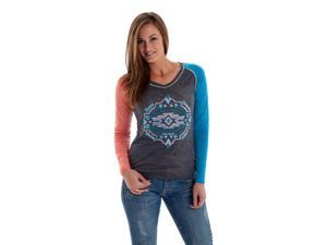Cowgirl Tuff Western Shirt Womens Long Sleeve Aztec S Gray F00268