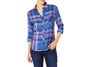 Silver Jeans Shirt Womens Long Sleeve Plaid Button S Blue L36SH4121