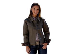 Cinch Western Jacket Womens Canvas Logo Pockets XL Brown MAJ9867001