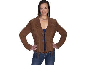 Scully Western Jacket Womens Fringe Ruffle Scallops Shawl M Brown L248