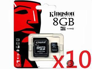 Kingston SDC4 Class 4 8GB 8G SDHC Micro Memory Card W/ Adapter + Retail Packing SDC4/8GB HK077 - Pack of 10