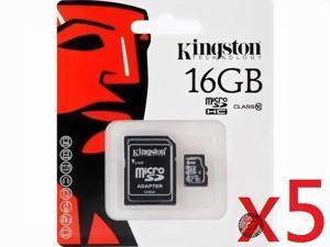 Kingston 16GB 16G MicroSDHC Micro SD HC SDHC Memory Card UHS-1 Class 10 C10 SDC10/16GB W/ Adapter + Retail Packing HK080 - Pack of 5