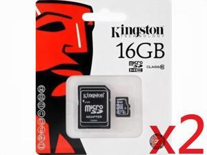 Kingston 16GB 16G MicroSDHC Micro SD HC SDHC Memory Card UHS-1 Class 10 C10 SDC10/16GB W/ Adapter + Retail Packing HK080 - Pack of 2