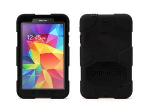 Griffin Galaxy Tab 4 8.0 Case - Protective Survivor All-Terrain Heavy Duty, Black, [Built-in screen shield] [Protects against impact, drops, and shock]