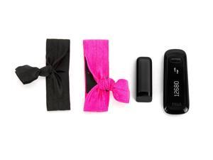 Black/ Hot Pink Ribbon Wristband 2-Pack for Fitbit and for Sony Fitness Trackers,2-Pack Wristbands