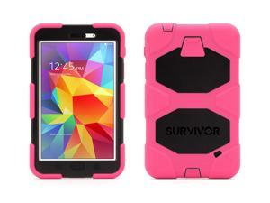 Pink/Black Survivor All-Terrain Case + Stand for Samsung Galaxy Tab 4 7.0,The most protective case possible for everyday use