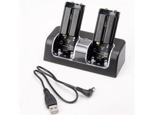 Black Dual Charging Station Stand Charger Dock with USB cable + 2 x Battery For Nintendo Wii Remote Controller